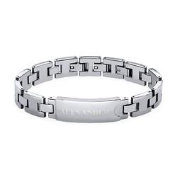 Edelstahl-Glieder-Armband mit Gravur für Herren Produktfoto