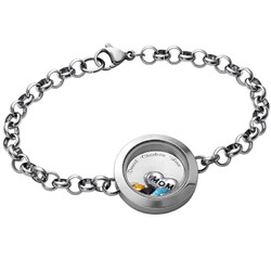 Graviertes Armband aus Edelstahl mit Medaillon für Mutter oder Produktfoto