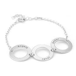 Personalisiertes Armband aus Sterlingsilber mit 3 Kreisen und Gravur Produktfoto