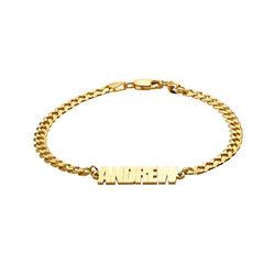 Namensarmband mit breiter Kette mit Goldplattierung Produktfoto