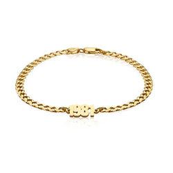 Namensarmband mit breiter Kette in Gold-Vermeil Produktfoto