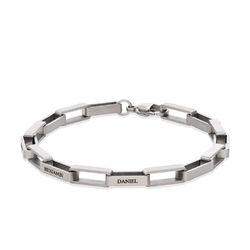 Personalisiertes Gliederarmband für Männer in mattem Silber Produktfoto