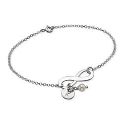 Silber Infinity-Armband mit Initiale und Süßwasserperle Produktfoto