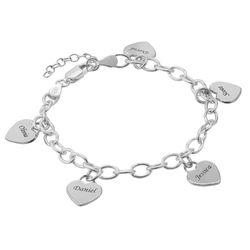 Gravierbares 925er Silber Armband mit Herz Charms Produktfoto