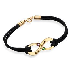 Vergoldetes Infinity-Armband mit Gravur und Geburtssteinen für Pärchen Produktfoto
