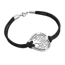 Silber Stammbaum-Armband mit Gravur in Herzform Produktfoto