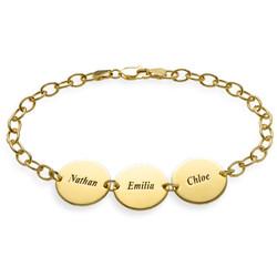 Besonderes Geschenk für Mütter - 18K vergoldetes Disk Namensarmband Produktfoto