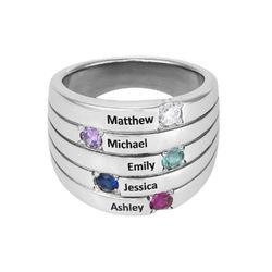 Silberring mit fünf Steinchen für Mütter Produktfoto