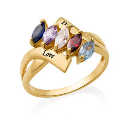 Vergoldeter Geburtsstein-Ring für Mütter Produktfoto