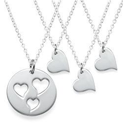 Mutter-Tochter-Ketten mit ausgestanzten Herzen im Set Produktfoto