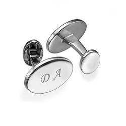 Ovale rhodinierte Manschettenknöpfe mit Initialen Produktfoto