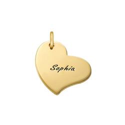 Gravierbarer Herz Charm Anhänger - Vergoldet Produktfoto