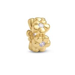 Vergoldete Blümchen Charm-Perle mit Zirkonia Produktfoto