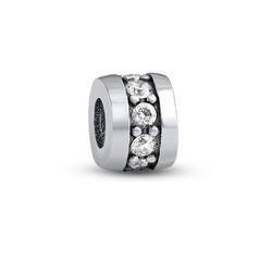 Silber Charm-Perle mit Zirkonia Produktfoto