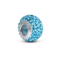 Aquamarine Geburtsstein Glasperle mit Zirkonia Produktfoto
