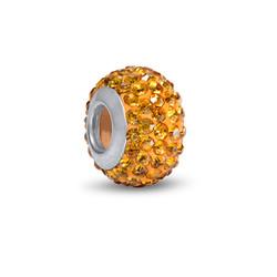 Gelbe Topas Geburtsstein Glasperle mit Zirkonia Produktfoto