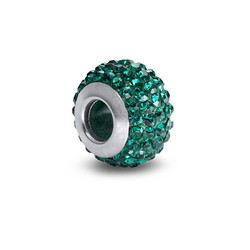 Smaragd Geburtsstein Glasperle mit Zirkonia Produktfoto