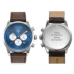 Quest Herren Chronograph Quarz Uhr mit Lederarmband - Produktfoto