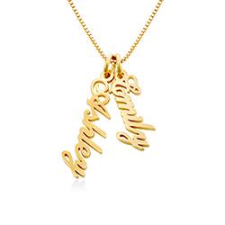 Vertikale Namenskette aus 18K vergoldeten Silber für Frauen Produktfoto