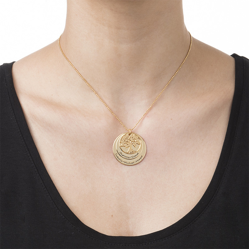 Livets træ halskæde til mor i forgyldt sølv - 1