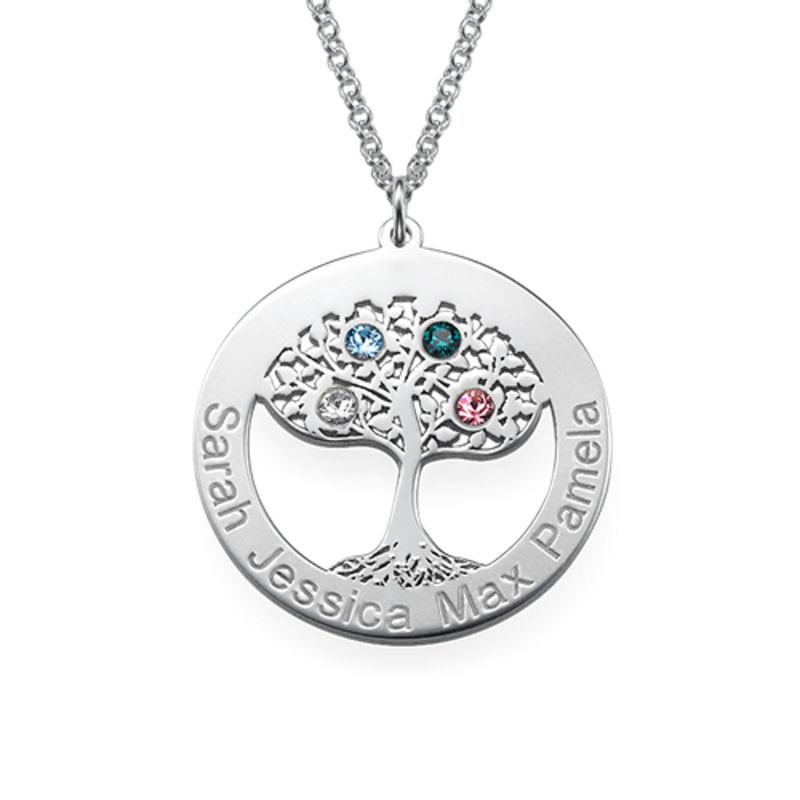 Livets træ halskæde med fødselssten i sølv