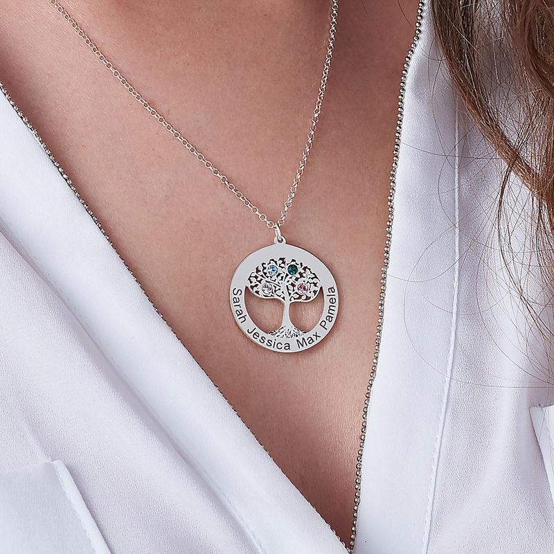 Livets træ halskæde med fødselssten i sølv - 2