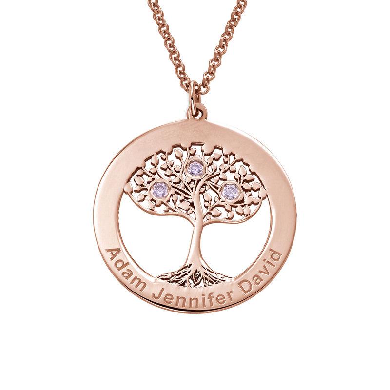 Livets træ halskæde med fødselssten i rosaforgyldt sølv - 1