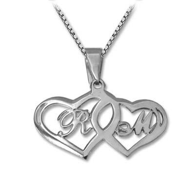 Kæreste halskæde med hjerte vedhæng og initialer i sølv
