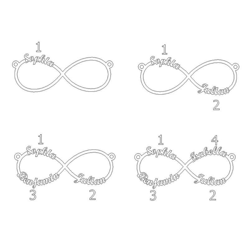 Infinity halskæde med fire navne i sølv - 3
