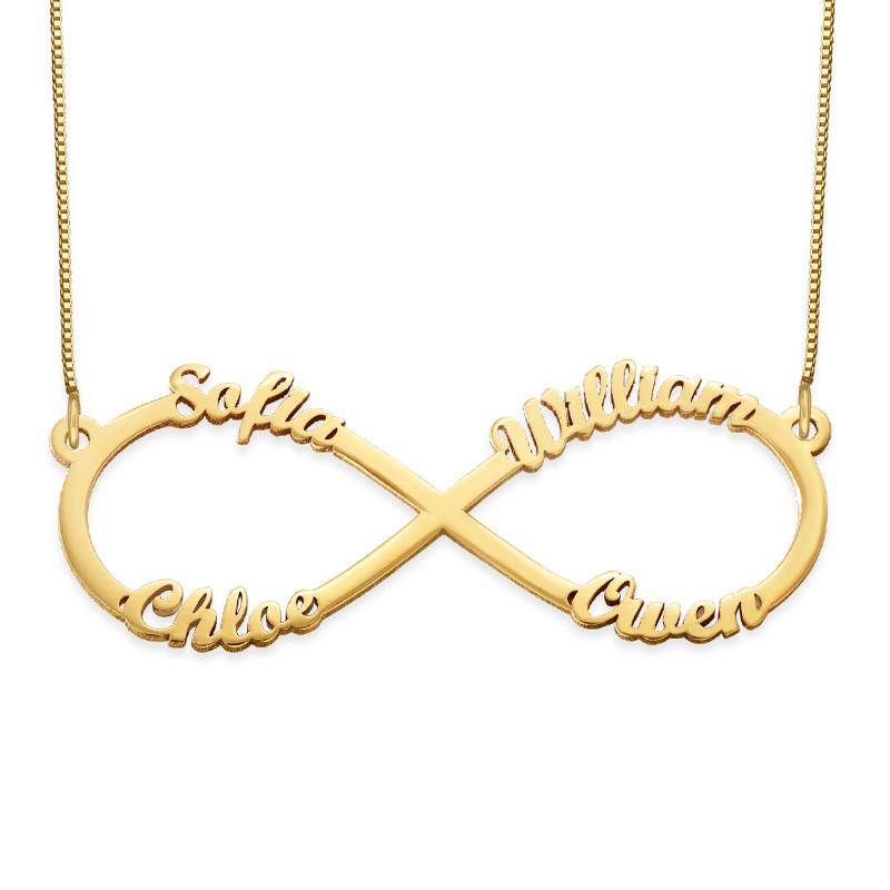 Infinity halskæde med fire navne i 14 karat sølv