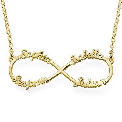 Infinity halskæde med fire navne i forgyldt sølv