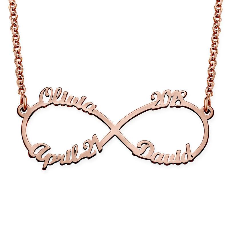 Infinity halskæde med fire navne i rosaforgyldt sølv