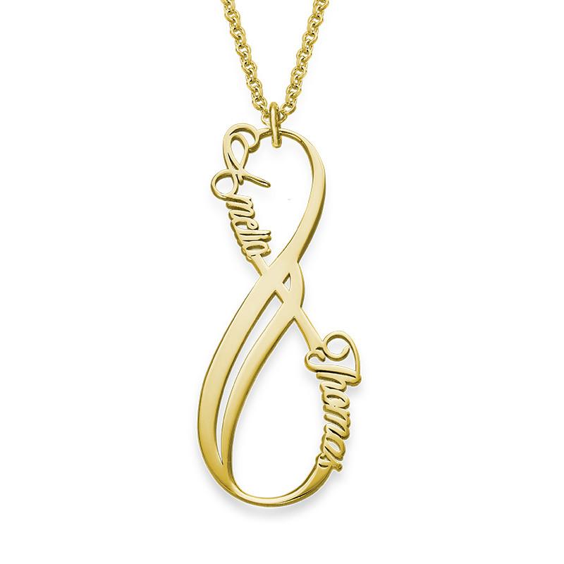 Vertikal infinity halskæde med navn i forgyldt sølv