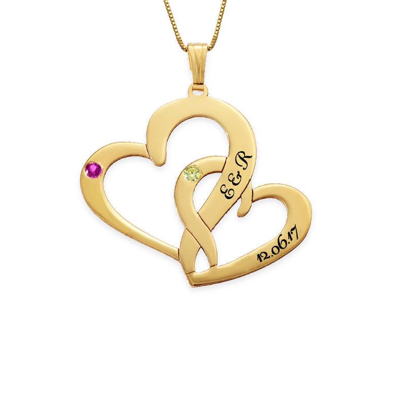 Indgraveret dobbelt-hjertehalskæde med fødselssten i 14 karat guld - 1