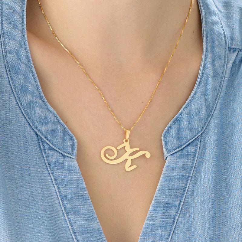 Initial halskæde med bogstav vedhæng i forgyldt sølv - 2