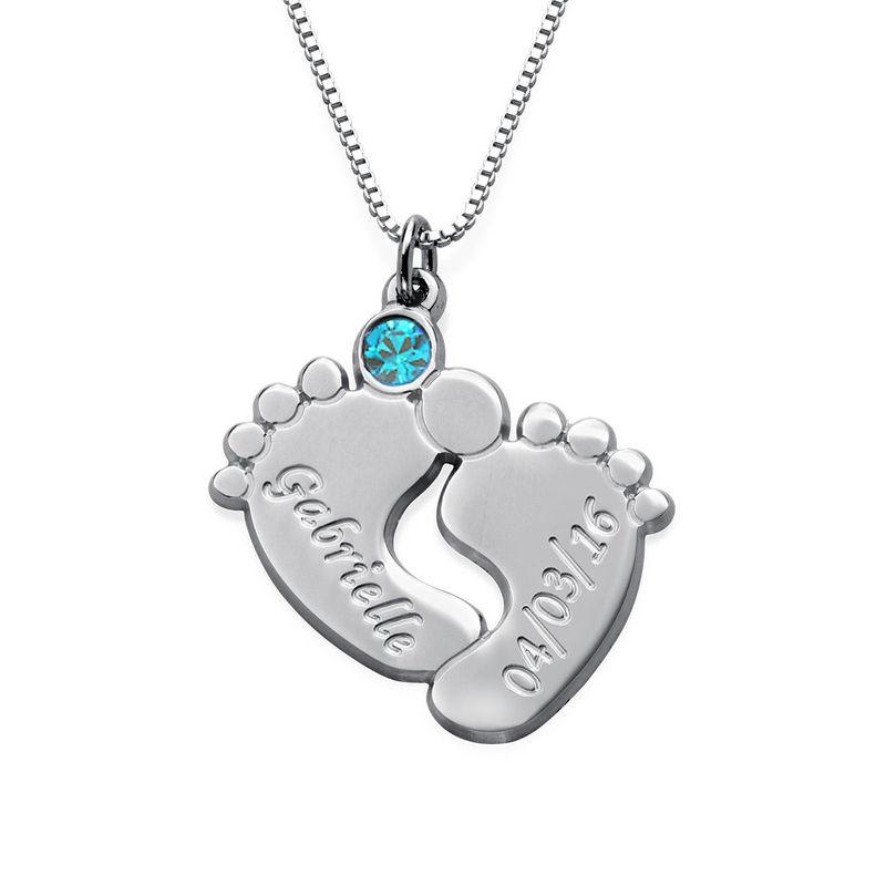 Indgraveret halskæde med babyfødder og fødselssten i sølv - 1