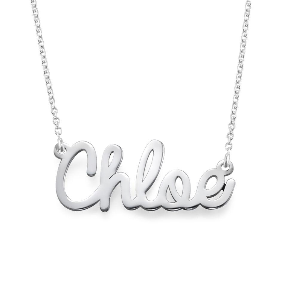 Kursiv navnehalskæde i sølv
