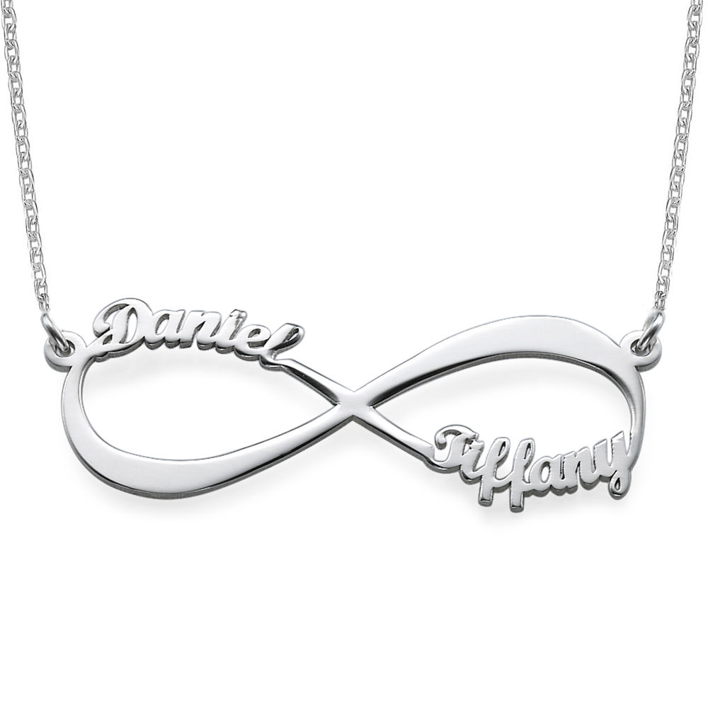 Infinity halskæde med navn i sølv