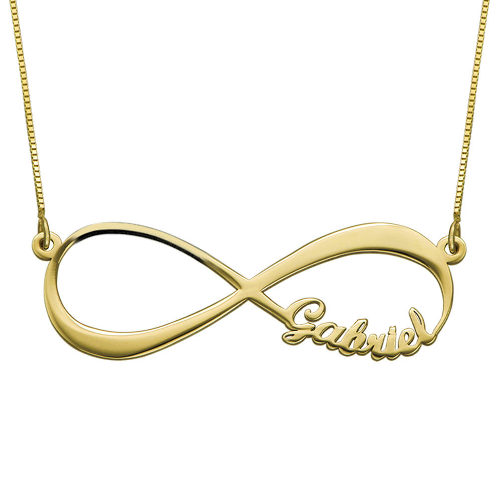 Infinity halskæde med navn i 14 karat guld - 1
