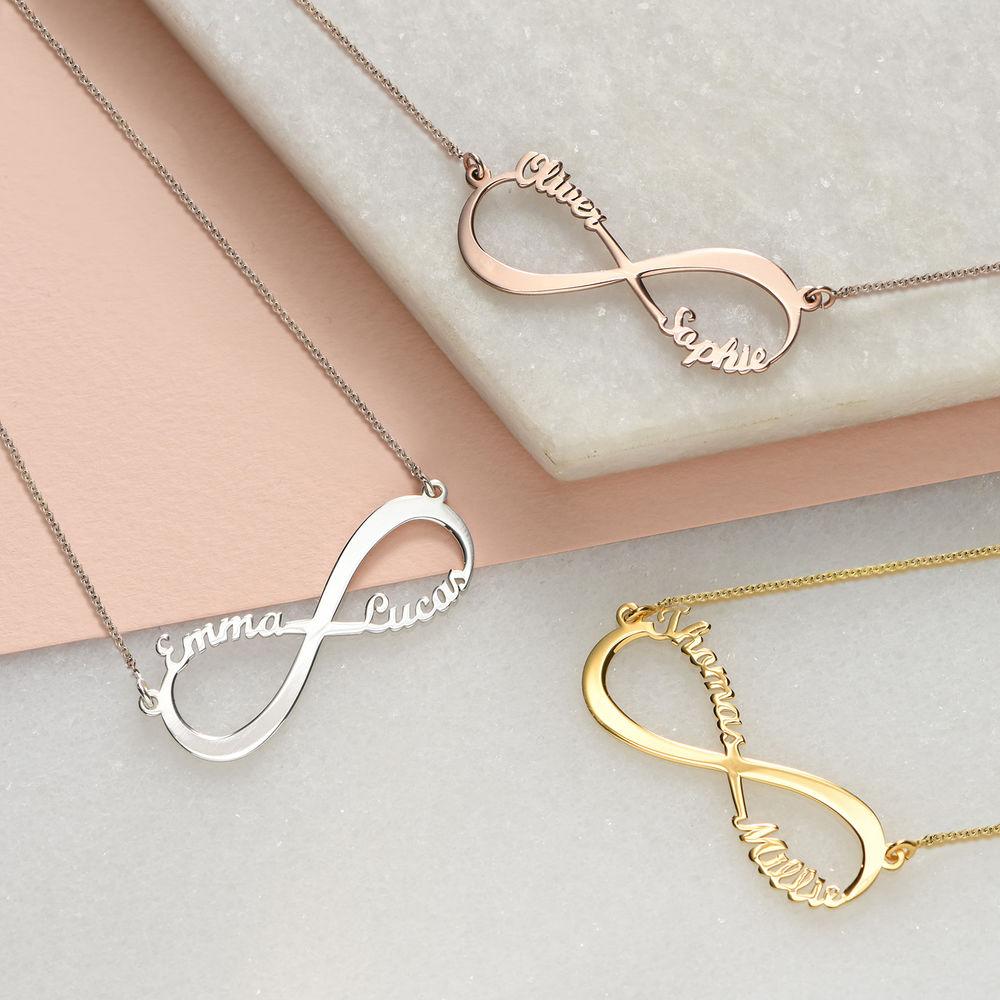 Infinity halskæde med navn i forgyldt sølv - 1