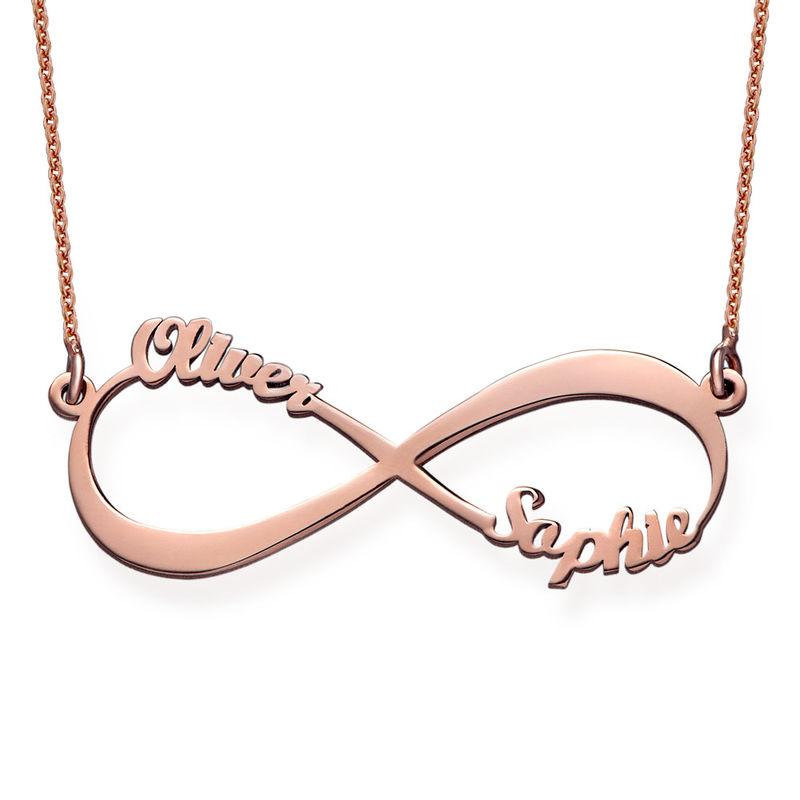 Infinity halskæde med navn i rosaforgyldt sølv