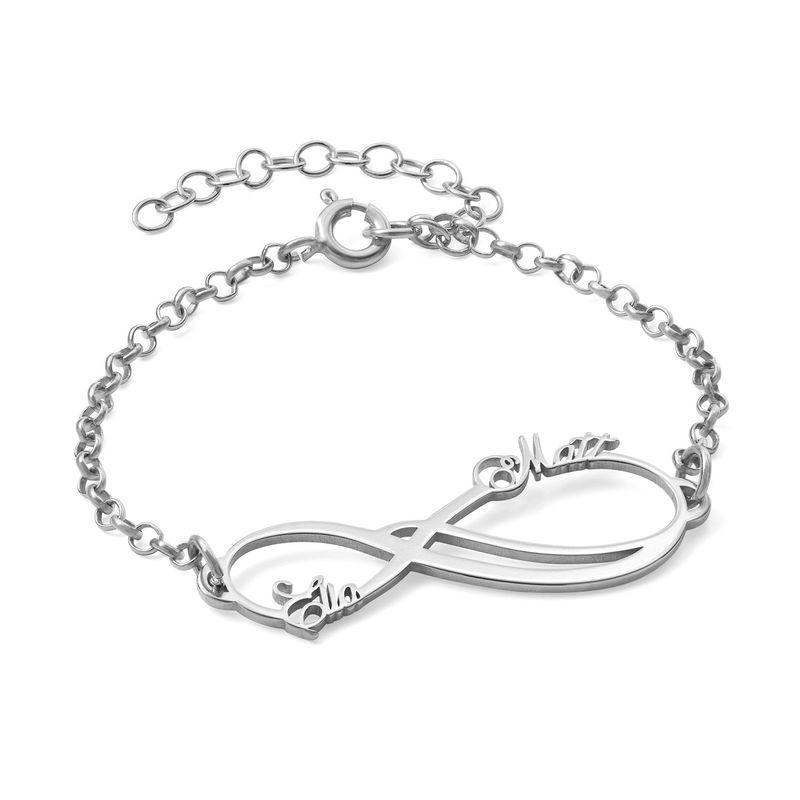 Infinity armbånd med 2 navne - 14K hvidguld
