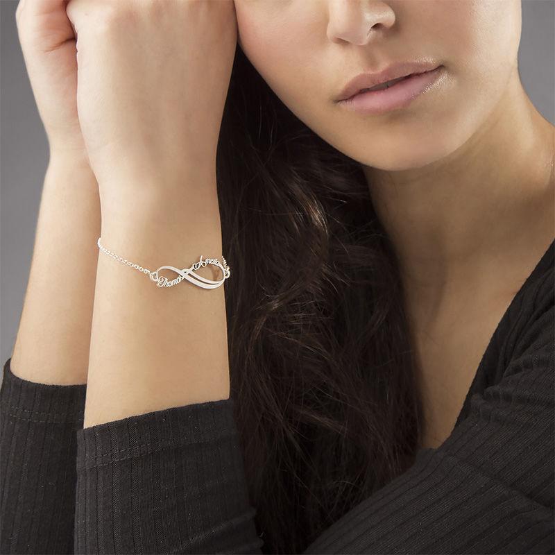 Infinity armbånd med 2 navne - 14K hvidguld - 1