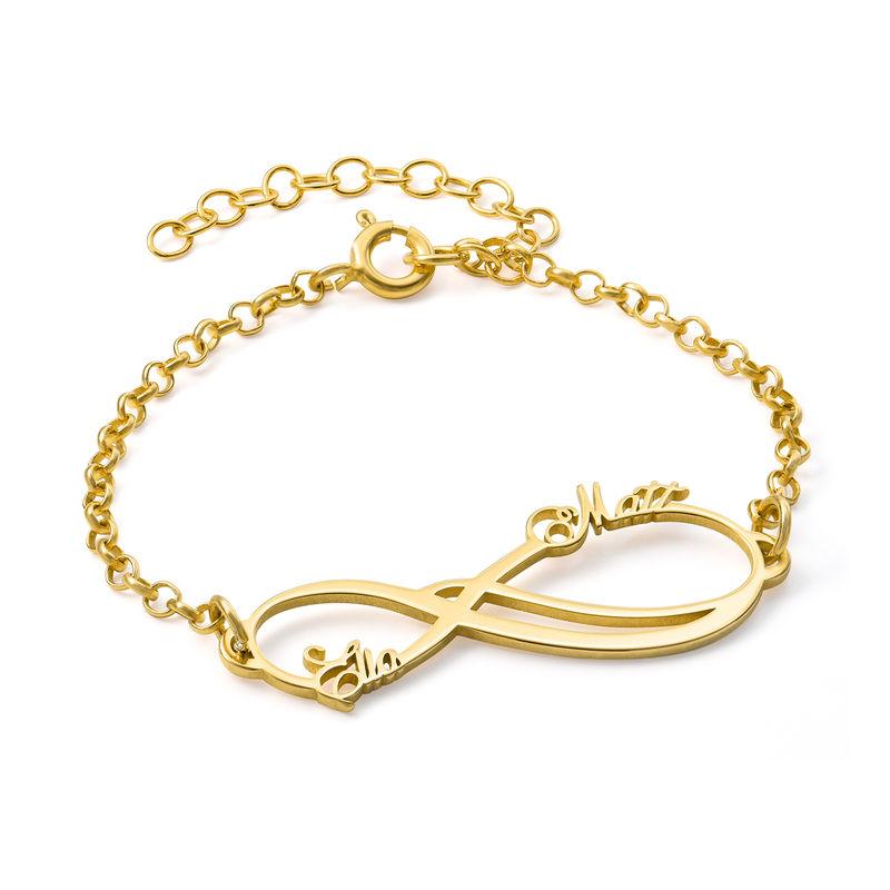 Infinity armbånd med 2 navne med guldbelægning