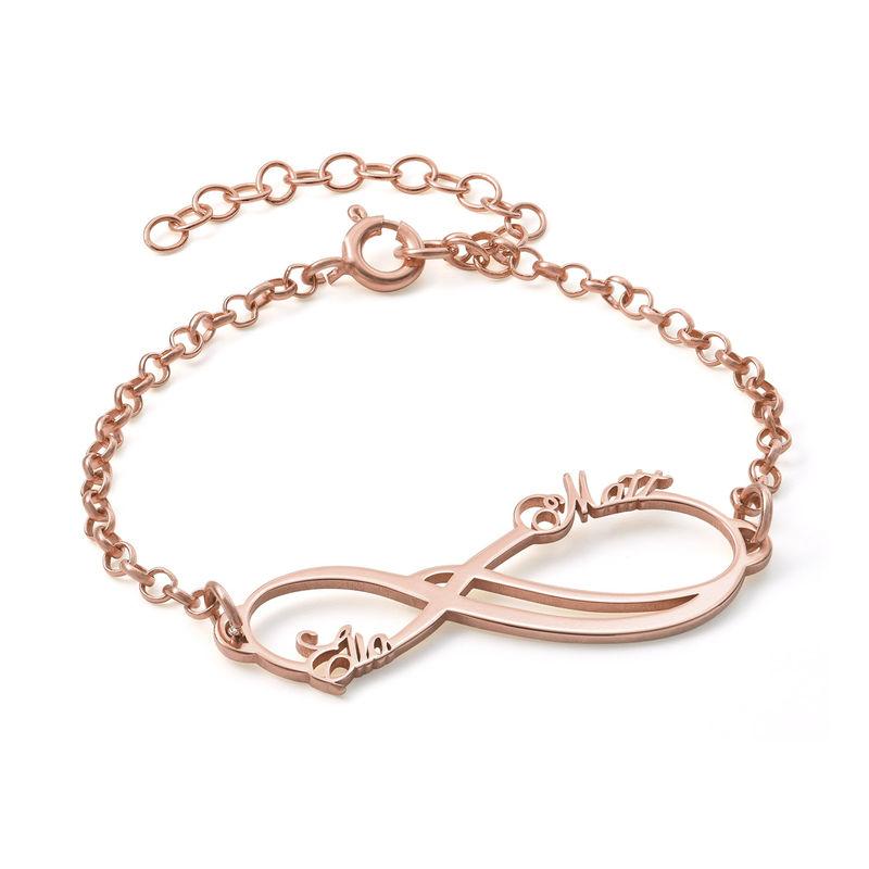 Infinity armbånd med 2 navne med rosa guldbelægning