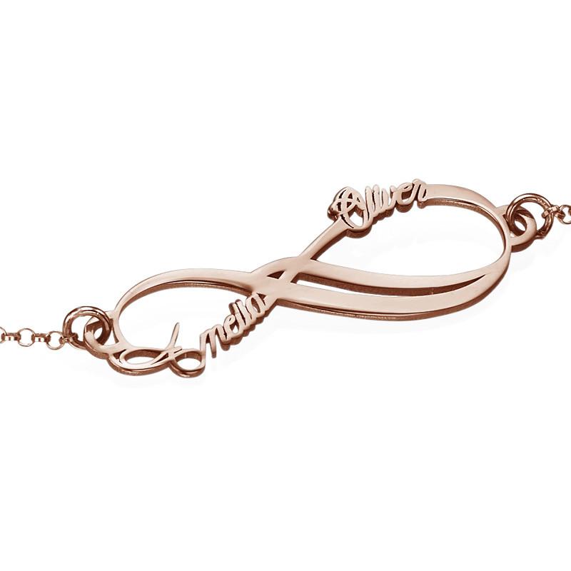Infinity armbånd med 2 navne med rosa guldbelægning - 1