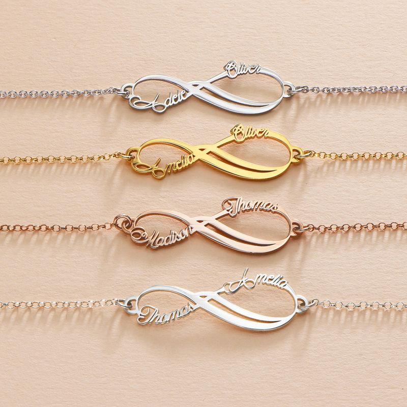 Infinity armbånd med 2 navne med rosa guldbelægning - 3