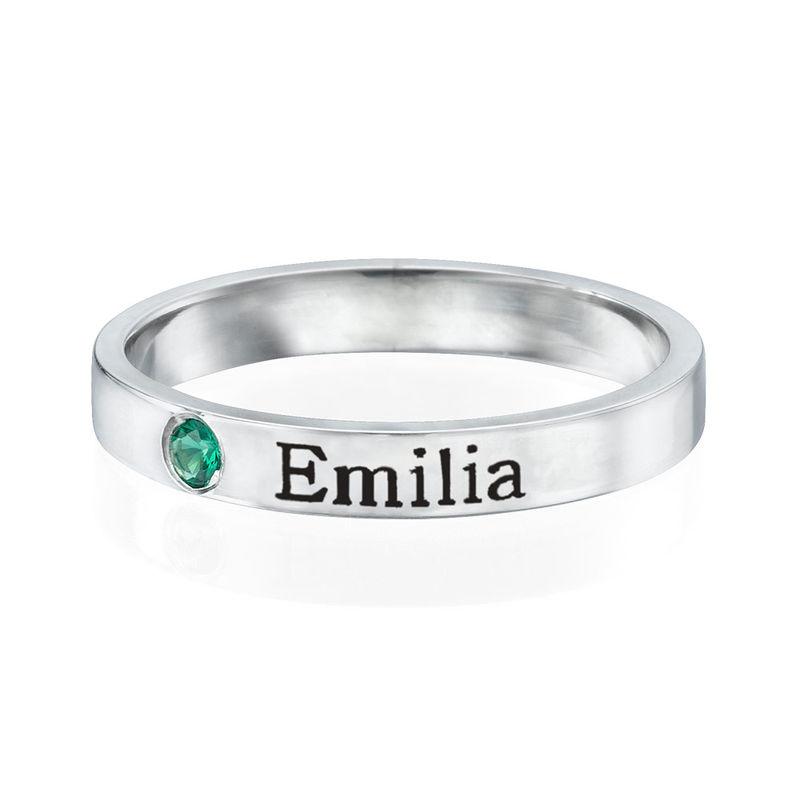 Stabelbar ring med navn og månedssten i sølv - 1