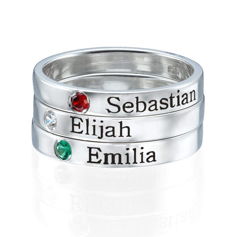 Stabelbar ring med navn og månedssten i sølv - 2