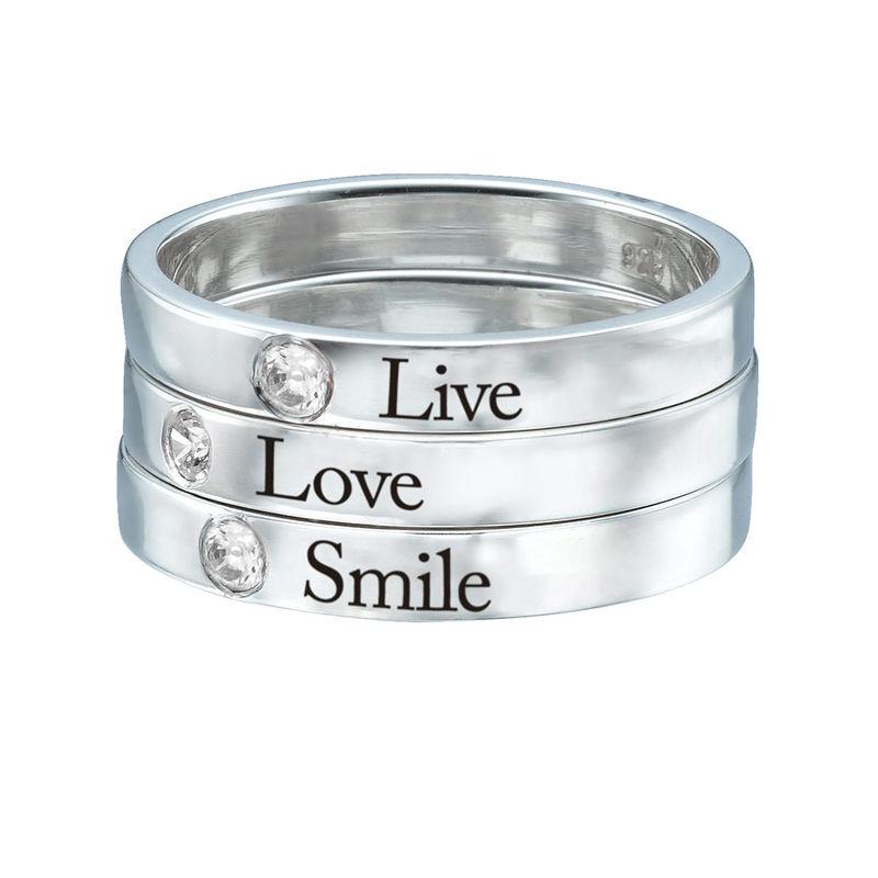 Stabelbar ring med navn og månedssten i sølv - 3